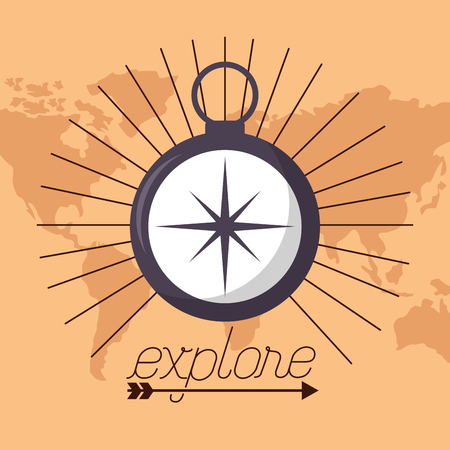 wanderlust guide compass map background vector illustration