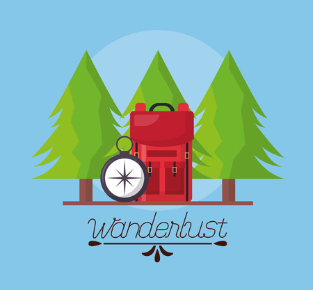 wanderlust pine trees bag and compass vector illustration