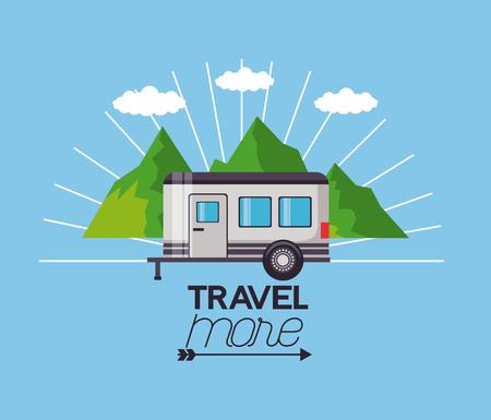 travel more trailer landscape mountains vector illustration