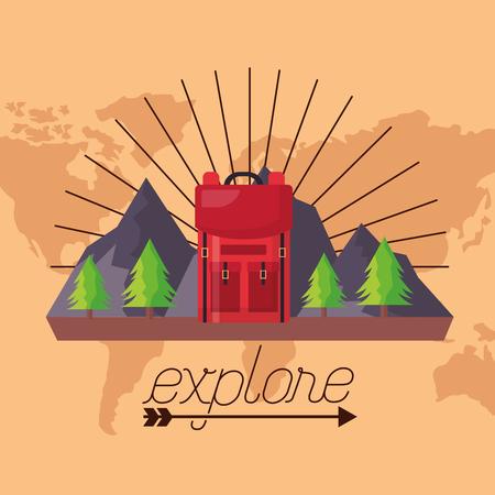 wanderlust mountains pine trees bag landscape vector illustration Illusztráció