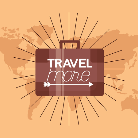 sign briefcase travel more background vector illustration