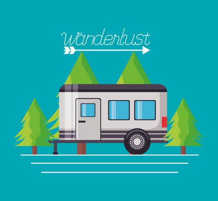 wanderlust pine trees trailer travel vector illustration Çizim