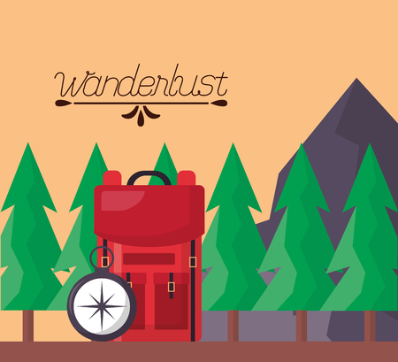 wanderlust outdoor pine trees mountains bag compass vector illustration