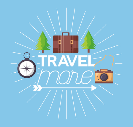 travel more pine trees briefcase camera and compass vector illustration