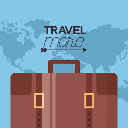 travel more briefcase travel map background vector illustration Illusztráció