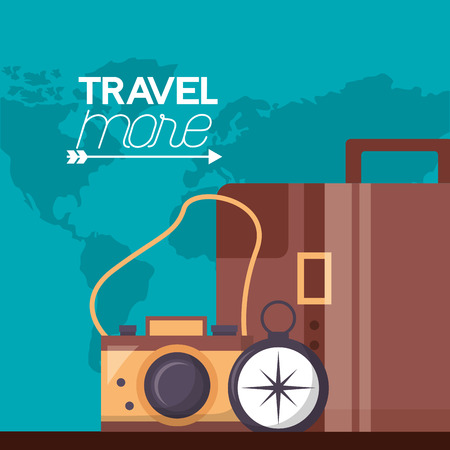 briefcase camera compass travel more map background vector illustration
