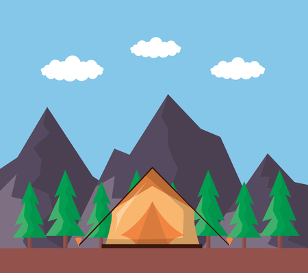 wanderlust tent ladnscape mountains pine trees vector illustration Illustration