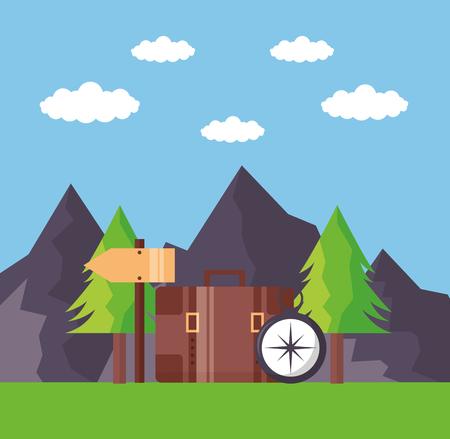wanderlust outdoor landscape briefcase compass vector illustration