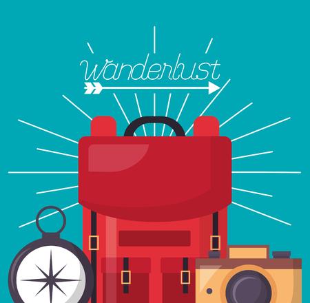compass camera red bag wanderlust vector illustration