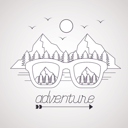 wanderlust glasses pine trees mountains birds adventure vector illustration
