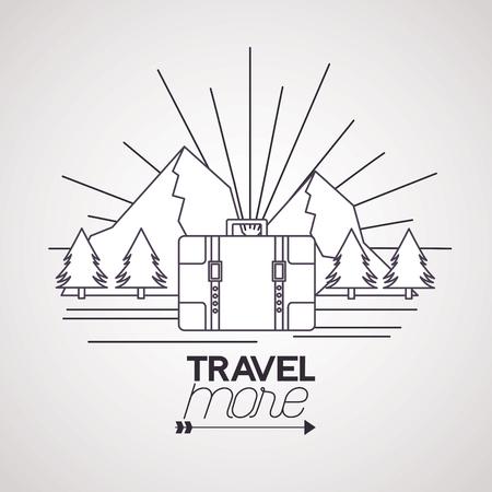 travel more briefcase mountains landscape vector illustration