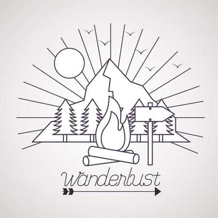 wanderlust sun pine trees mountains wood fire vector illustration 向量圖像