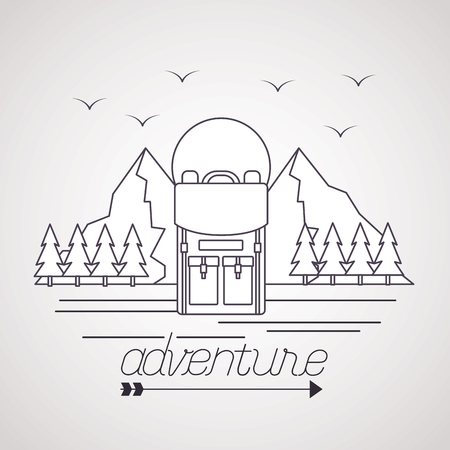 wanderlust adventure bag mountains birds pine trees vector illustration