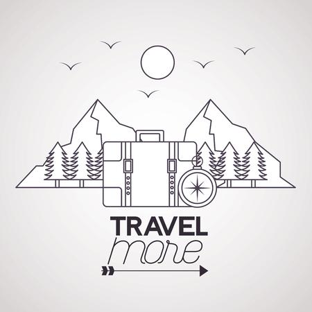travel more compass briefcase birds sun mountains vector illustration