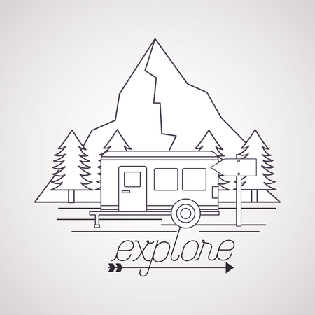 explore wanderlust trailer mountain pine trees vector illustration Foto de archivo - 125647529