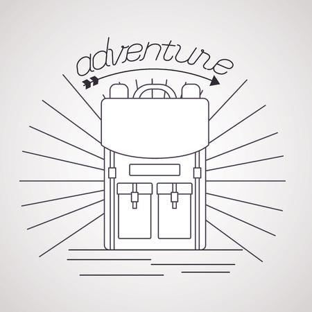 wanderlust adventure bag travel grunge style vector illustration