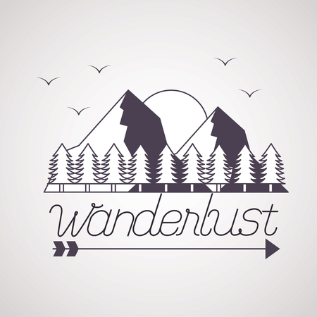 sun birds mountains pine trees wanderlust vector illustration