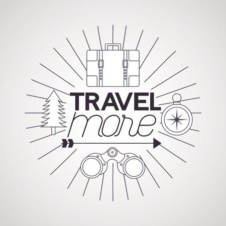 travel more binoculars compass briefcase and pine tree vector illustration Stock Illustratie