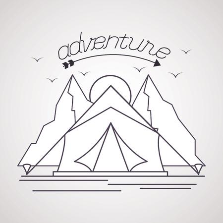 mountains sun tent adventure wanderlust vector illustration