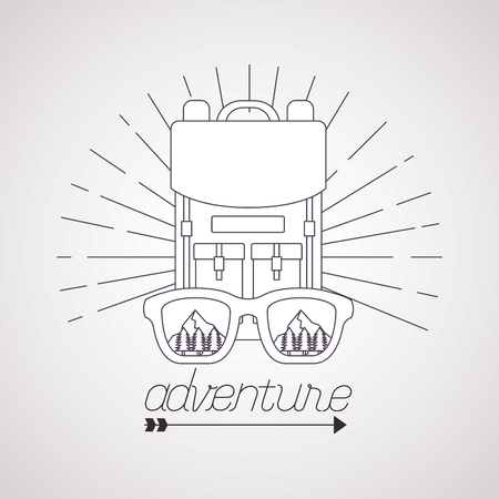 wanderlust bad with glasses adventure travel outdoor vector illustration Illustration