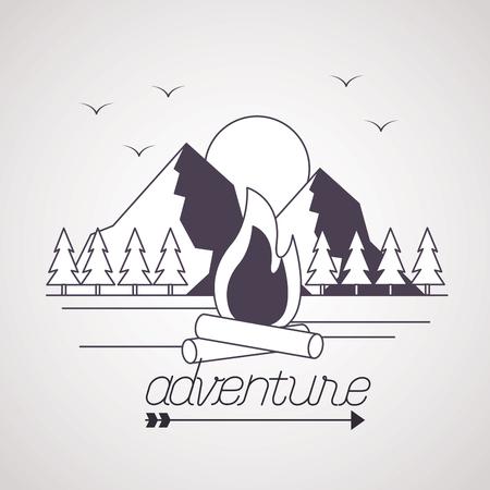 avontuur vogels bergen houtvuur buiten reislust vectorillustratie Vector Illustratie