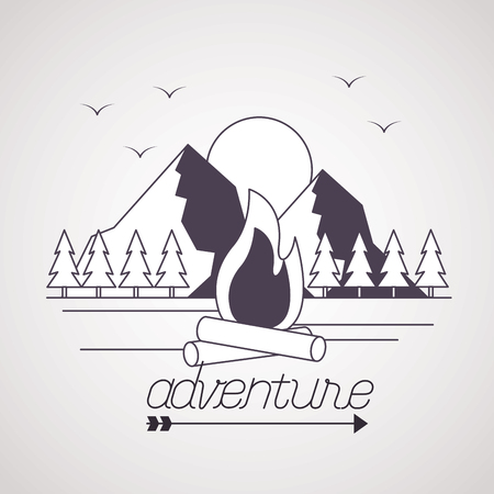 adventure birds mountains wood fire outdoor wanderlust vector illustration