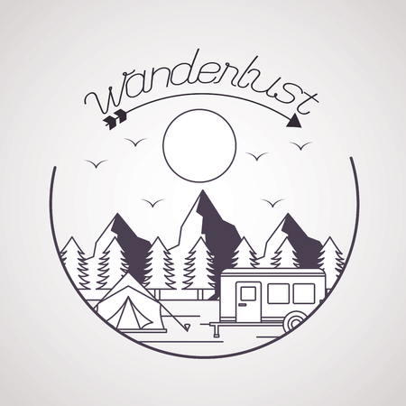 wanderlust sticker wood tent trailer landscape vector illustration 向量圖像
