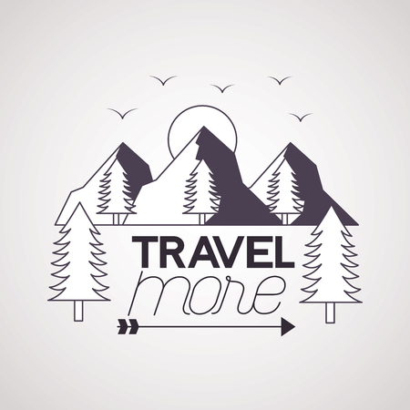 travel more birds sun mountains landscape vector illustration  イラスト・ベクター素材
