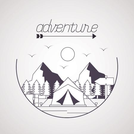 wanderlust adventure landscape tent trailer vector illustration Illustration