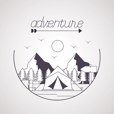 wanderlust adventure landscape tent trailer vector illustration 向量圖像