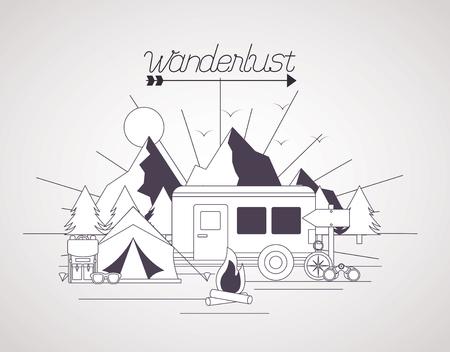 wanderlust landscape tent trailer mountains vector illustration