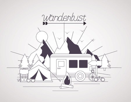 wanderlust landscape tent trailer mountains vector illustration