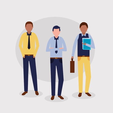 business men work holding briefcase papers vector illustration