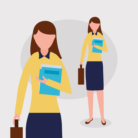 business work woman holding paper briefcase vector illustration Stock fotó - 125647554