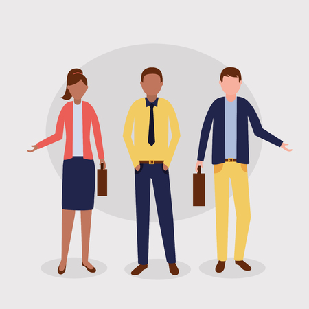 woman and men  group costume business work vector illustration Illusztráció
