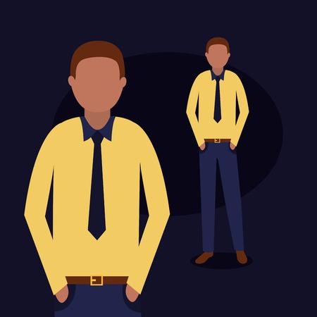 Ilustración de vector personalizado de grupo de hombre afroamericano de negocios