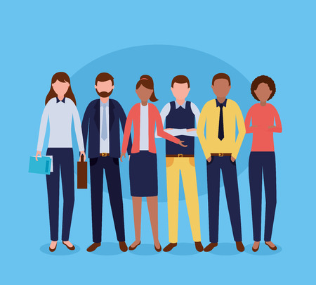 group costume work business people vector illustration