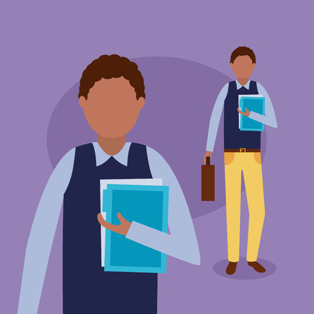 business afroamerican man holding papers vector illustration