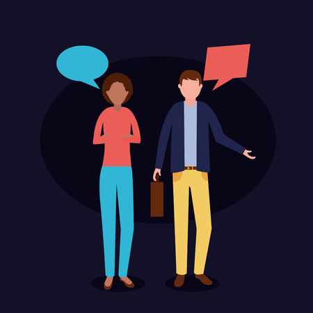 business woman and man talking work vector illustration