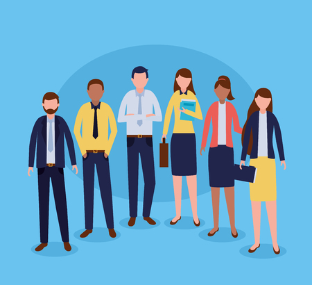 group costume business people group vector illustration