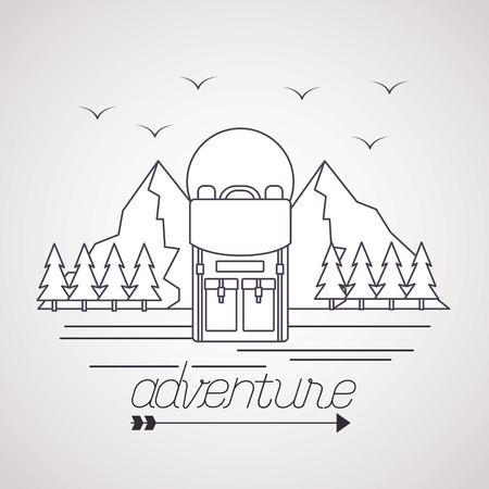 wanderlust adventure bag mountains birds pine trees vector illustration 스톡 콘텐츠 - 125647564