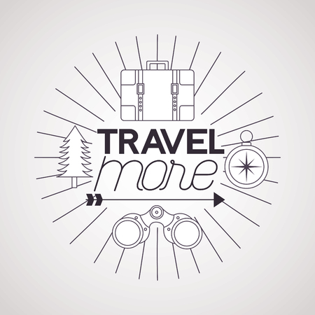 travel more binoculars compass briefcase and pine tree vector illustration Zdjęcie Seryjne - 125647571
