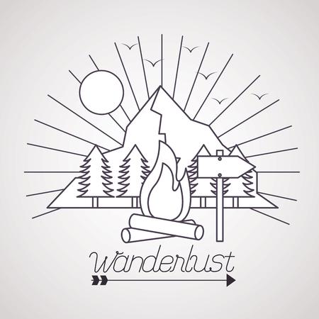 wanderlust sun pine trees mountains wood fire vector illustration  イラスト・ベクター素材