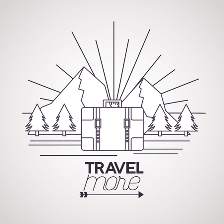 Reisen Sie mehr Aktenkoffer Berge Landschaft Vektor-Illustration Vektorgrafik