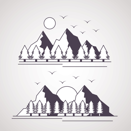wanderlust pine trees mountains birds landscape vector illustration