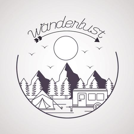wanderlust sticker wood tent trailer landscape vector illustration Illustration