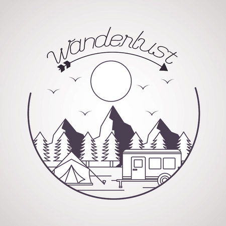 wanderlust sticker wood tent trailer landscape vector illustration Banque d'images - 125647578