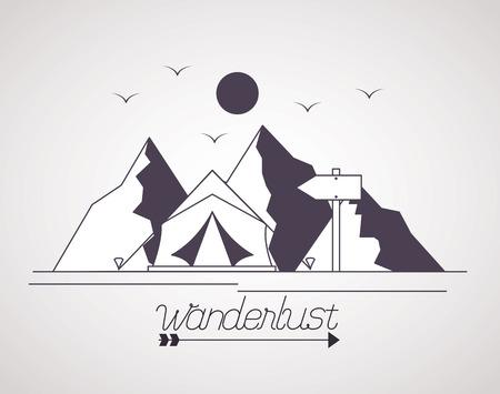 wanderlust landscape sun birds moutanins tent vector illustration