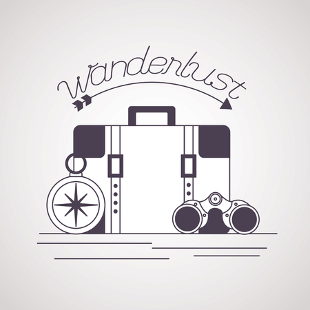 compass binoculars and briefcase wanderlust vector illustration Çizim