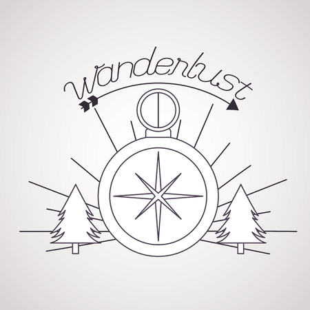 compass guide pine trees wanderlust background vector illustration 일러스트